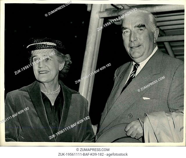 Nov. 11, 1956 - Mr. Menzies returns to London. Arrives at London airport ?¢'Ǩ'Äú Mr. Menzies arrived at London Airport this evening at the end of his talks in...