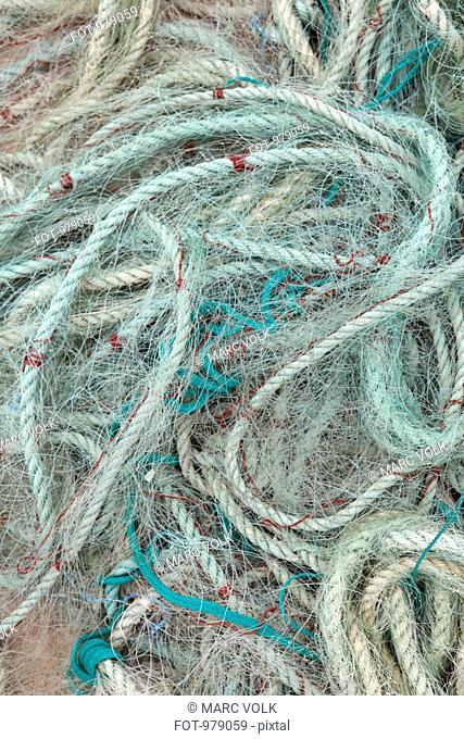 Detail of ropes and fishing nets on the ground