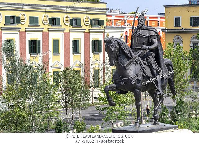 The Statue of Skanderbeg at the centre of Skanderbeg Square with the Government offices in the background, Tirana, Albania,