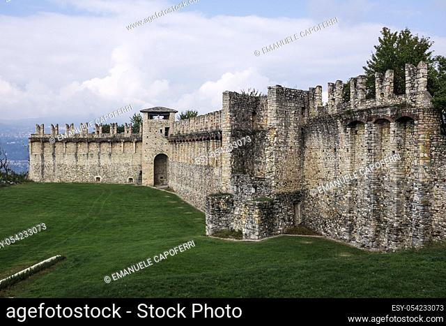 Walls of the medieval castle on Lake Maggiore, Rocca Borromeo, Angera, Italy