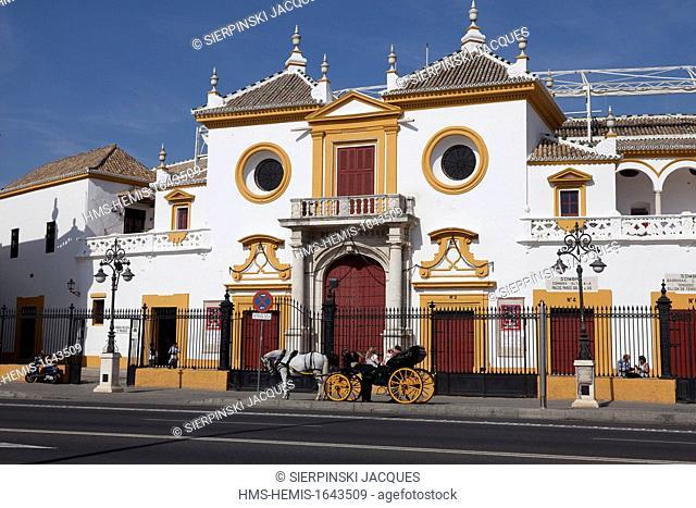 Spain, Andalusia, Sevilla, Plaza de toros, 18th century Arenas de la Maestranza Bullrings with local Baroque Style