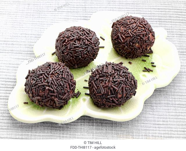 Chocolate truffles covered in vermicelli