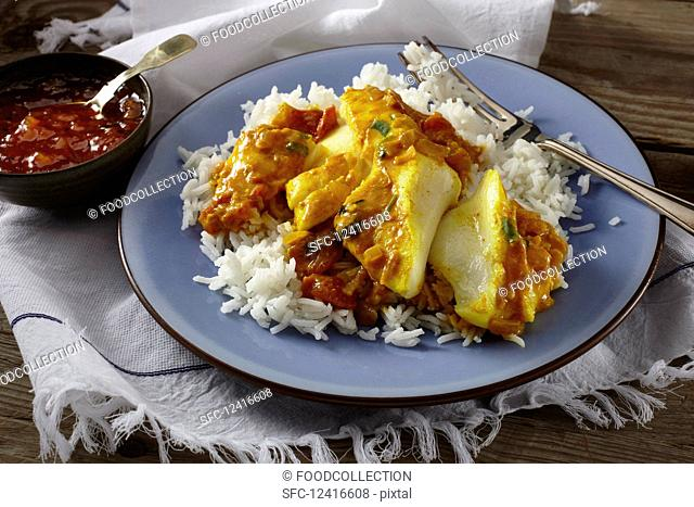 Fish curry with rice (Kerala, India)