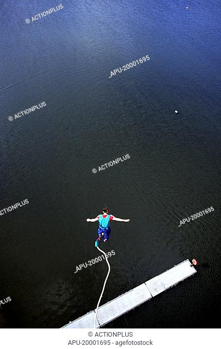 Bungee jumping over water