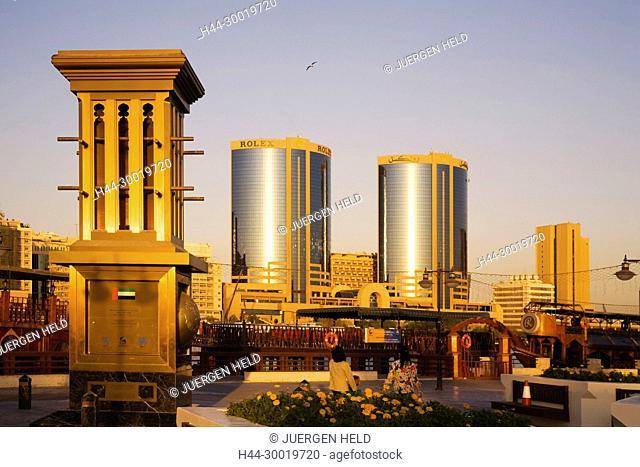 United Arab Emirates, Dubai , Dubai Deira, Creek, Asia, Promenade Skyline Twin Towers Rolex headquarter Dhows at sunset, Hotel International