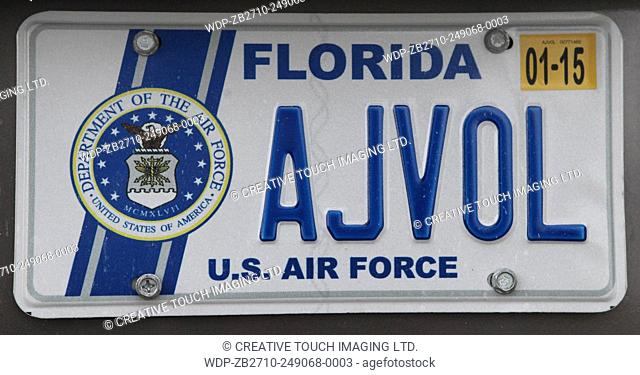 Vehicle license plate from the State of Florida, USA. This license plate belongs to a member of the United States Air Force