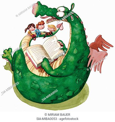 Children sitting with dragon and reading book