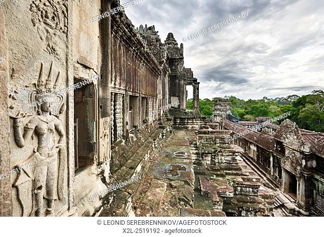 View from the top tier of Angkor Wat temple. Angkor Archaeological Park, Siem Reap Province, Cambodia