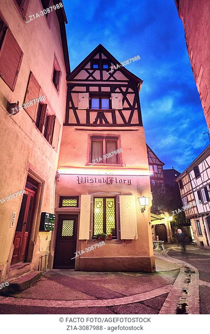 Tradicional half-timbering house. Colmar city center. Alsace. Grand Est. France