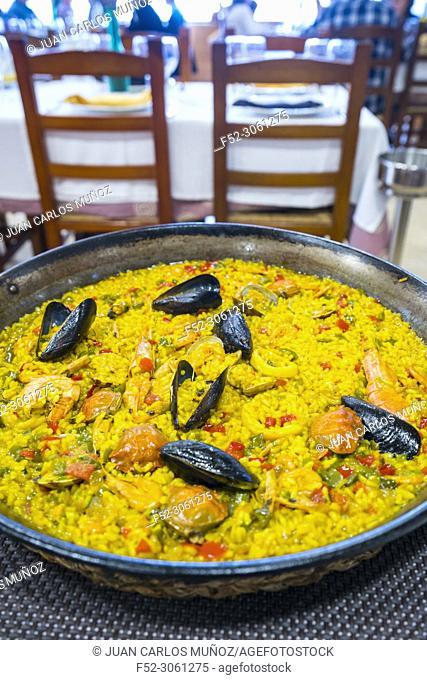 Paella, L'Estany Resturant, The Ebre Delta Natural Park, Terres de l'Ebre, Tarragona, Catalonia, Spain