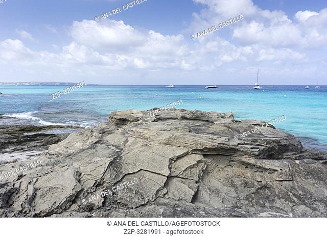 Turquoise Mediterranean sea in Formentera island Balearic islands Spain on September 2018