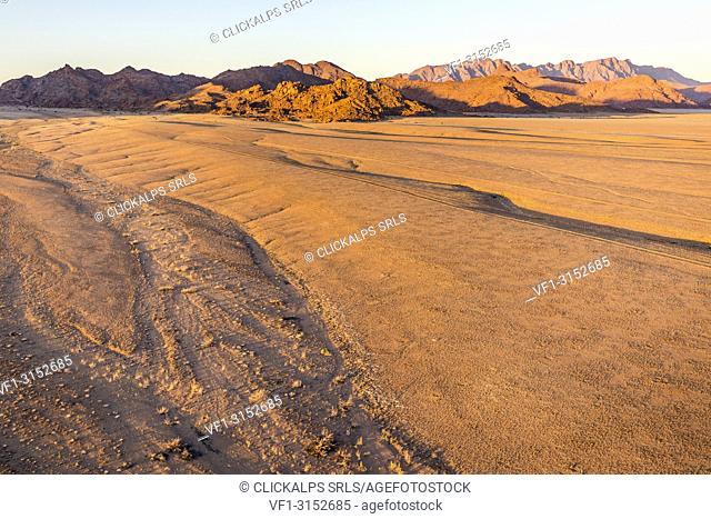 Aerial view of Sossusvlei desert at sunset,Namib Naukluft national park,Namibia,Africa