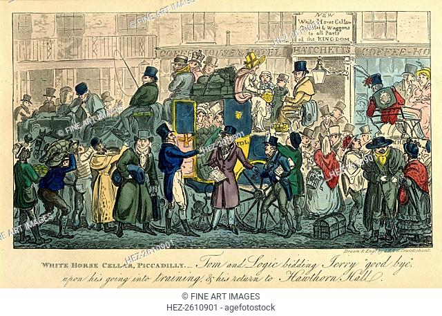 White Horse Cellar, Piccadilly (From: 36 scenes from real life), 1821. Artist: Cruikshank, Isaac Robert (1789-1856)
