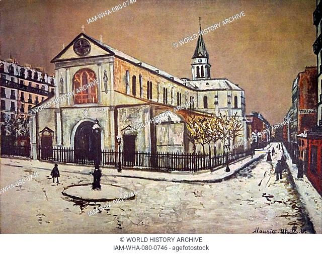 Painting of Notre-Dame de Clignancourt, a Roman Catholic church located in the 18th arrondissement of Paris. Dated 19th Century