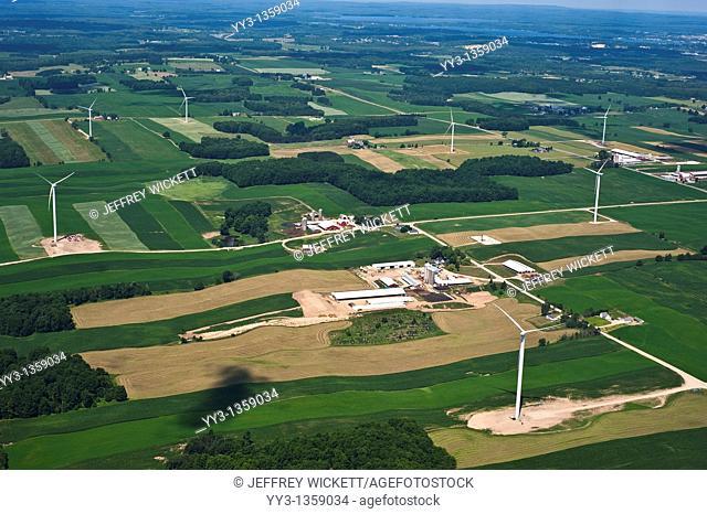 Aerial view of wind turbines near Cadillac, Michigan, USA