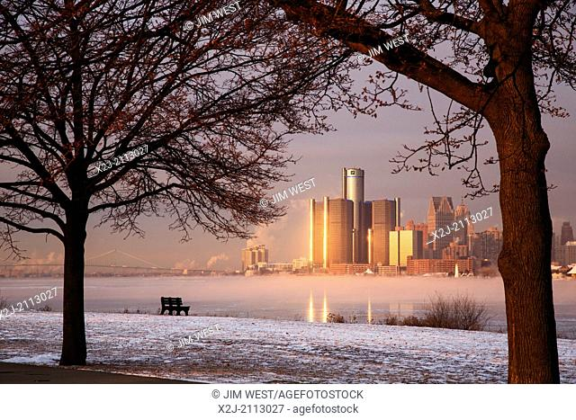 Detroit, Michigan - Downtown Detroit and the icy Detroit River, from Belle Isle, a city park in the middle of the river