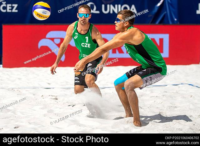 Jan Dumek, left, and Vaclav Bercik of Czech Republic in action during the Ostrava Beach Open 2021 tournament, part of the Beach Volleyball World Tour match...