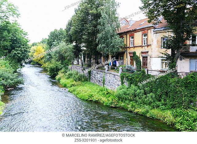 Houses next to the river Vilnia. Uzupis is a neighborhood in Vilnius, on April 1, 1997, the district declared itself an independent republic
