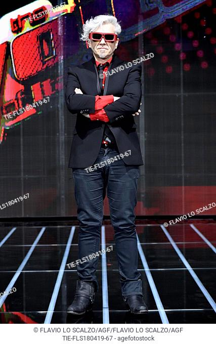 Morgan during the photocall of tv show The voice of Italy, Milan, ITALY-18-04-2019