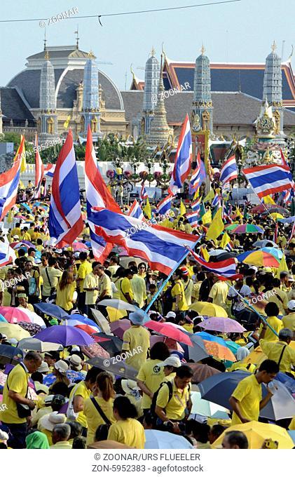 Tausende von Thailaender zelebrieren den Kroenungstag des Koenig Bhumibol auf dem Sanam Luang Park vor dem Wat Phra Kaew in der Stadt Bangkok in Thailand in...