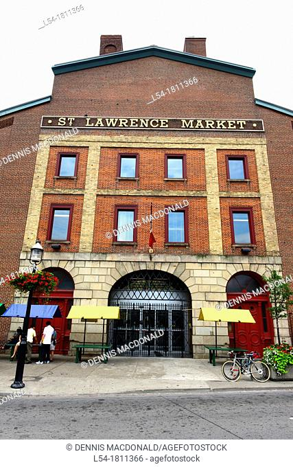 The Historic Distillery District and St Lawrence shopping Market on Market Street Toronto Ontario Canada