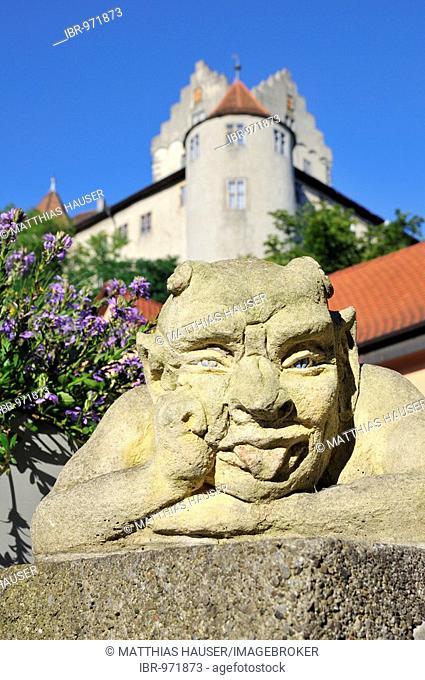 Devil figure, Meersburg castle in the back, old castle, Meersburg on Lake Constance, Baden-Wuerttemberg, Germany, Europe
