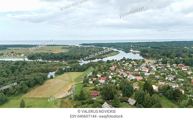 Gauja river Latvia drain into Baltic Sea aerial drone top view