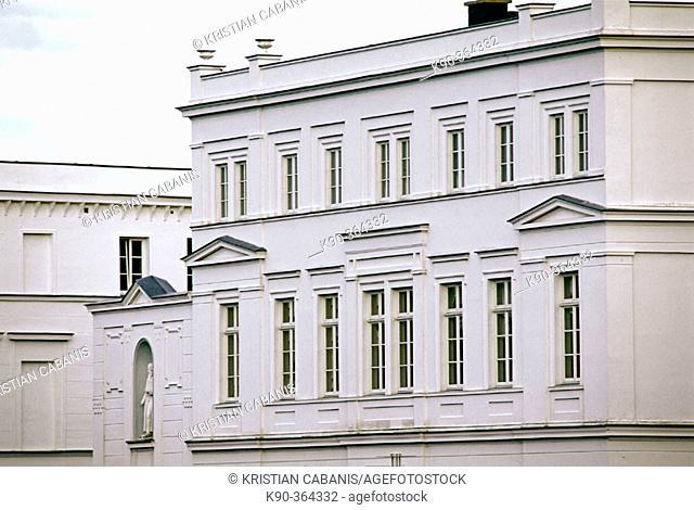Typical facade of the houses in Putbus, Mecklenburg. Western Pomerania, Rügen (Ruegen) island. Germany