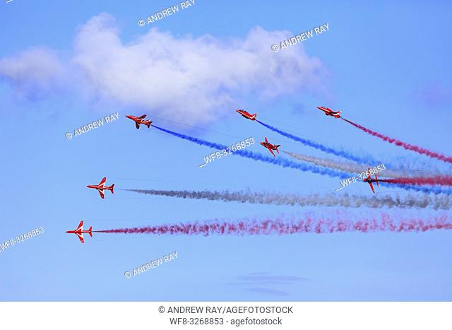 The Red Arrows over Falmouth Bay in Cornwall