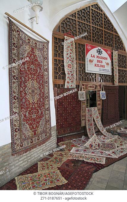 Uzbekistan; Bukhara; carpet shop,