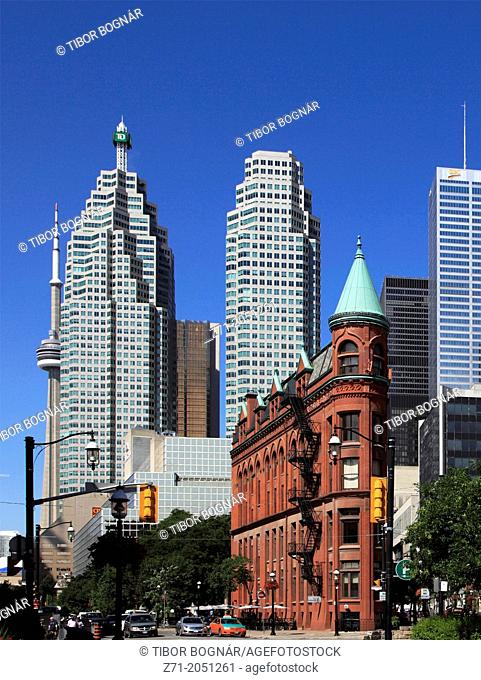 Canada, Ontario, Toronto, Flatiron Building, Financial District, skyline,