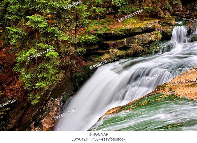 Szklarka waterfall (Wodospad Szklarki) and stream, Karkonoski National Park, Karkonosze Mountains, Poland