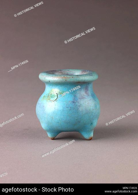 Miniature incense burner, Jun ware. Artist: Chinese , Jin/Yuan Dynasty; Date: 12th-13th century; Culture: Chinese; Medium: Stoneware with blue glaze;...