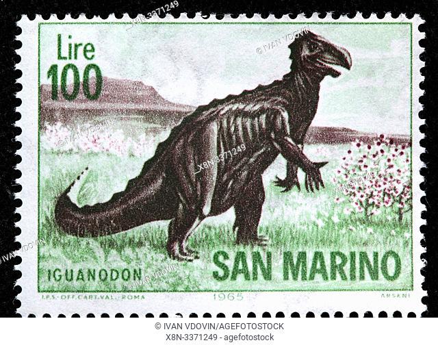 Iguanodon, Prehistoric animal, postage stamp, San Marino, 1965