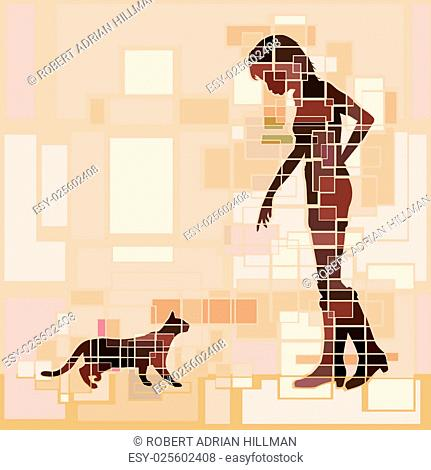 Editable vector design of a woman and cat approaching each other
