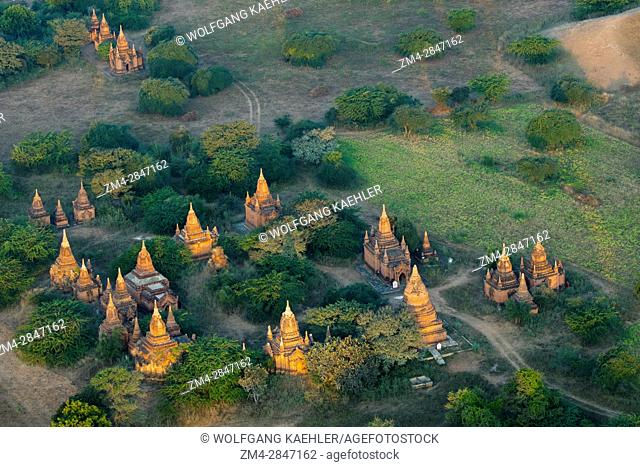View of temples from a hot air balloon flying over Bagan, Myanmar in the early morning