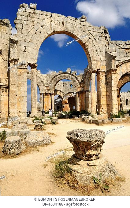 Ruin of byzantine Saint Simeon Monastery, Qala'at Samaan, Qalaat Seman archeological site, Dead Cities, Syria, Middle East, West Asia